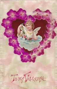 Valentine's Day Beautiful Angel Inside Flowered Heart