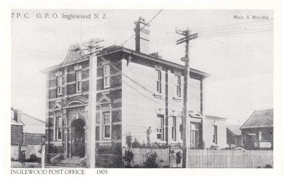 Inglewood Taranaki Post Office in 1905 New Zealand Postcard