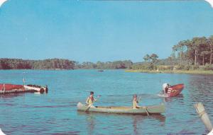 MANITOBA, Canada, PU-1954; Canoe on Water, Greetings From Ninette