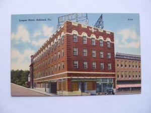 Linen LOEPER HOTEL Ashland Pennsylvania PA unused Postcard y5768@