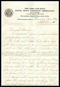 1917 Army & Navy YMCA Headquarters, Letterhead w/ 4 Page Letter, New York, NY A1