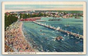 Postcard Australia New South Wales Sydney Manly Harbour Beach c1940s AD6