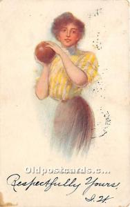 Old Vintage Bowling Postcard Post Card Bowling Girl 1915