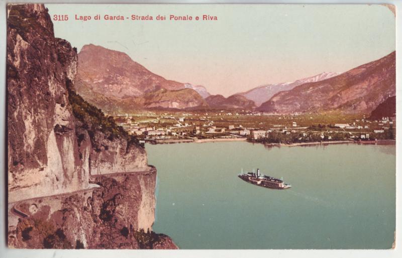 P1123 old unused card harbor boat lago di garda strada dei ponale e riva italy