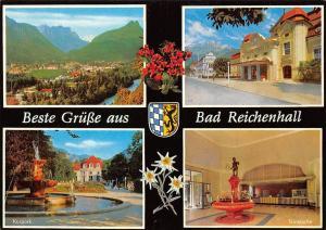 Beste Gruesse aus Bad Reichenhall, Trinkhalle Kurpark Fountain Statue Panorama