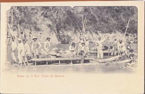 BOLIVIA - MEN ON RAFT IN RIVER / 1930s / Bolsa en el Nor Oeste de Bolivia