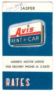 JASPER, Alberta, Canada, 50-60s; Avis Rent a Car Rates Booklet