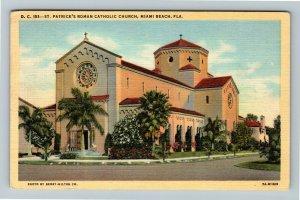 Miami FL-Florida, St. Patrick's Roman Catholic Church ,Linen c1944 Postcard