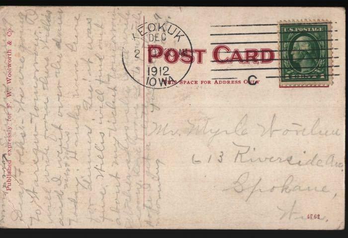 Keokuk IA Spokane WA St Johns Episcopal Church F. W. Woolworth Postcard B06