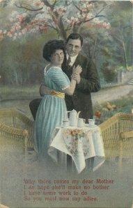 Postcard couple romantic lovers love idyll kiss romance fancy fashion tea chairs