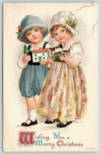 Clapsaddle Christmas~Victorian Boy & Girl With Toys~Hat & Lacy Cap~Wolf & Co
