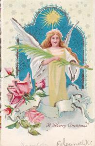 CHRISTMAS, PU-1906; Angel under a shining star, Palm leaf, Pink Roses