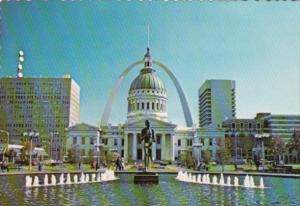 Missouri St Louis The Arch Showing Old Court House & The Runner Statue