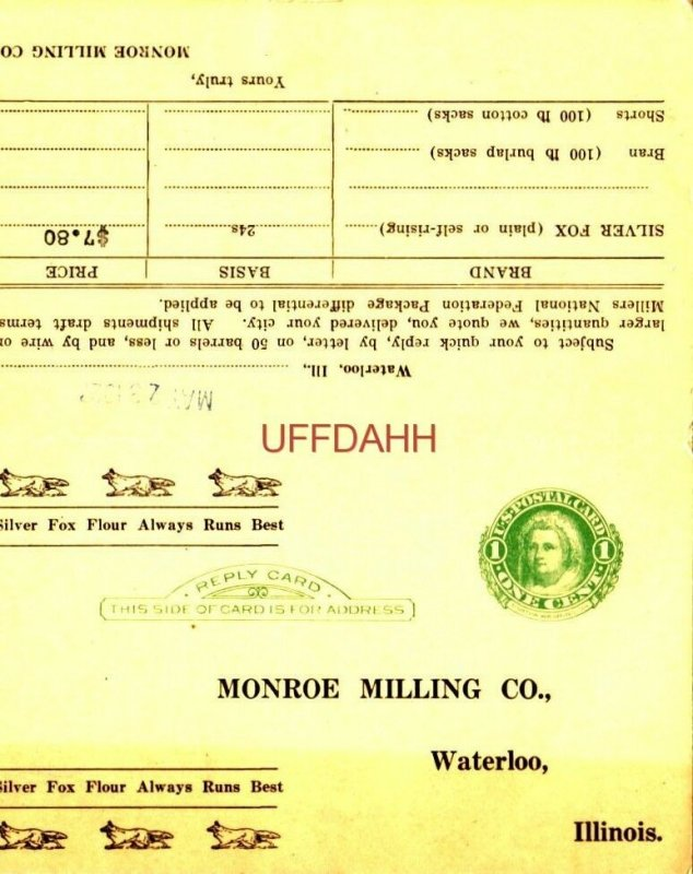 MONROE MILLING CO. WATERLOO, IL. order card for Silver Fox Flour