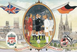 Liverpool Football Club VS FC Koln German 1965 Cup Painting Postcard