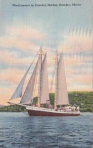 Maine Camden Windjammer In Camden Harbor 1952
