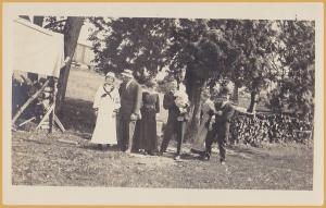 RPPC-Fun Family Portrait, Lady in Sailors Suit, Men in Bowler, Kids goofing off