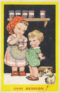 AS; DINAH, 1940s; Jam Session! Child caught with jam on face