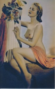 TOPLESS WOMAN BEAUTY with FLOWERS / 1950s / NUDE - reprint