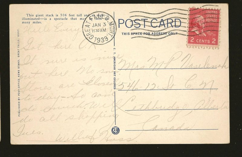 Postmarked 1939 Great Falls Mont Big Stack at Night Great Falls Color Postcard