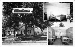 F14/ London Ohio RPPC Postcard c1940s Fettrow Village Hotel Court 3View