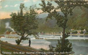 Kanawha Falls West Virginia~Man on Edge of Railway~House on Riverbank~1910 PC