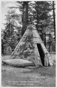 The Wigwam Cooper's Tourist Camp, Pt. Alexander, Canada Tipi ca 1920s Postcard