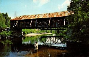 New Hampshire Warner Fishing At An Old Covered Bridge