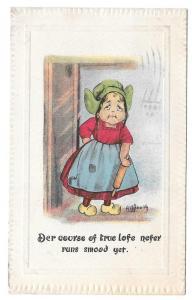 Vintage Postcard Dutch Girl Rolling Pin Course of True Lofe