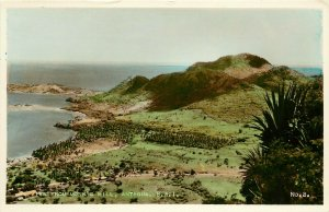 Hand-Colored RPPC Postcard No. 2. View from Monk's Hill, Antigua B.W.I. Unposted