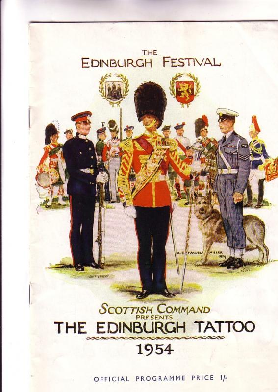 Program The Edinburgh Festival, Tattoo, 1954, Scotland, 12 Pages