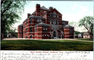 HARTFORD, CT Connecticut     WEST  MIDDLE  SCHOOL    1905    Postcard