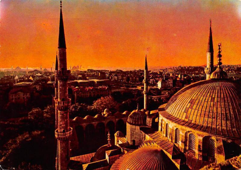 Turkey Istanbul, A View of the Old City from the Blue Mosque Sunset