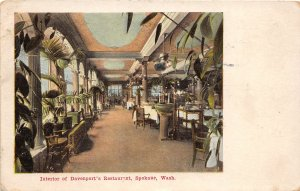 G33/ Spokane Washington Postcard c1908 Interior Davenport's Restaurant