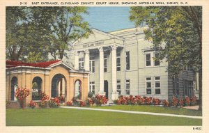 Cleveland County Court House, Shelby, NC Artesian Well ca 1940s Vintage Postcard
