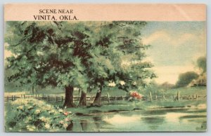 Vinita Oklahoma~What A Place to Relax! Shade Trees Beside A Pond~c1910 PC
