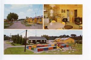 Sault Ste Marie MI TV Pool Motel Old Cars Postcard