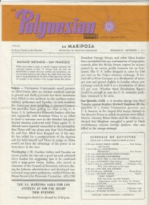 S.S. Mariposa , En Route VICTORIA to S.F. CA, 1971 ; The Polynesian Newsletter
