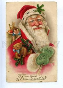202807 Red-Robed SANTA CLAUS & TEDDY BEAR Vintage NEW YEAR PC