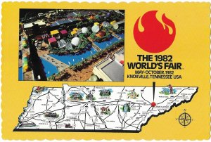 Aerial View & Map Card 1982 World's Fair Knoxville  Tennessee May-Oct 4 by 6