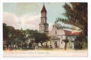 St Augustine FL Cathedral & Plaza UDB Rotograph 1905