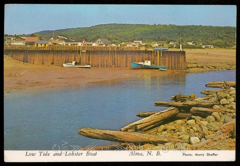 Low tide and Lobser Boat - Alma, N.B.