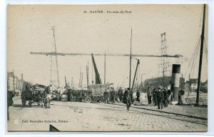Port Scene Nantes France 1910c postcard