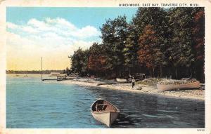 Traverse City Michigan~Birchwood~East Bay~Boy on Beach~Rowboats~1916 Postcard