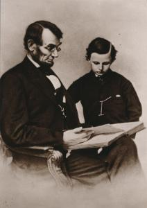 Abraham Lincoln reading with son Tad 1864 Brady Photo Recent Print