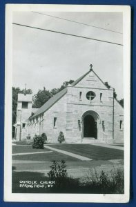 Springfield Vermont vt Catholic Church real photo postcard RPPC