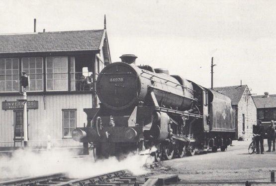 Engine 44978 Train at Rose Street Signal Box Inverness in 1962 Railway Postcard