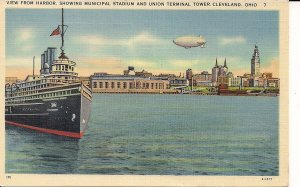 ZEPPELIN, AIRSHIP, BLIMP, Cleveland, OH, Lake View, 1941 Linen PC, Stadium