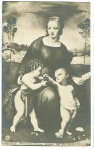 Firenze, Madonna del Cardellino, Raffaelle, Galleria Uffizi, unused NPG, RPPC