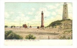 New and Old Light House, Cape Henry, Virginia, 1907 PU
